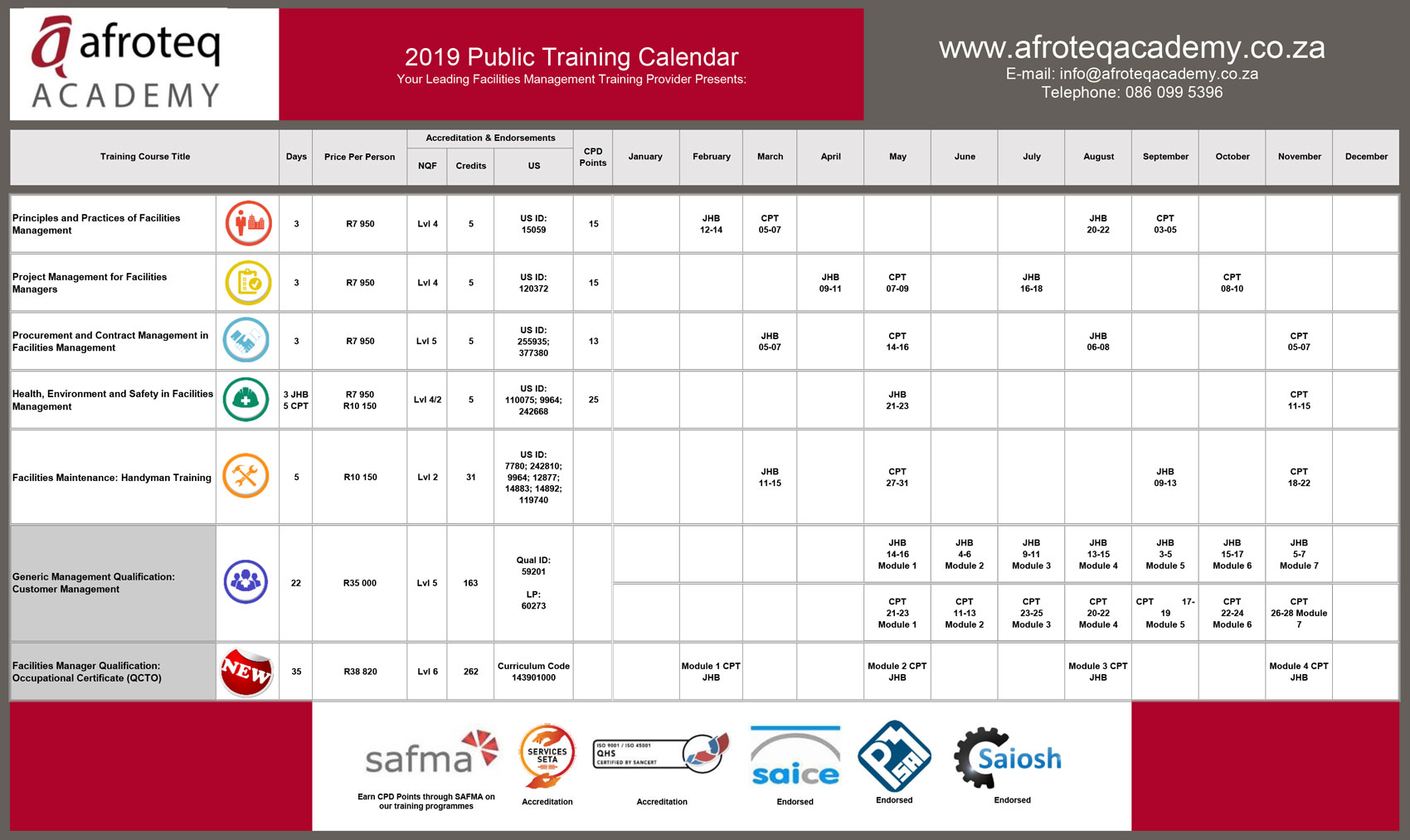 AFROTEQ Academy Training Calendar 2019